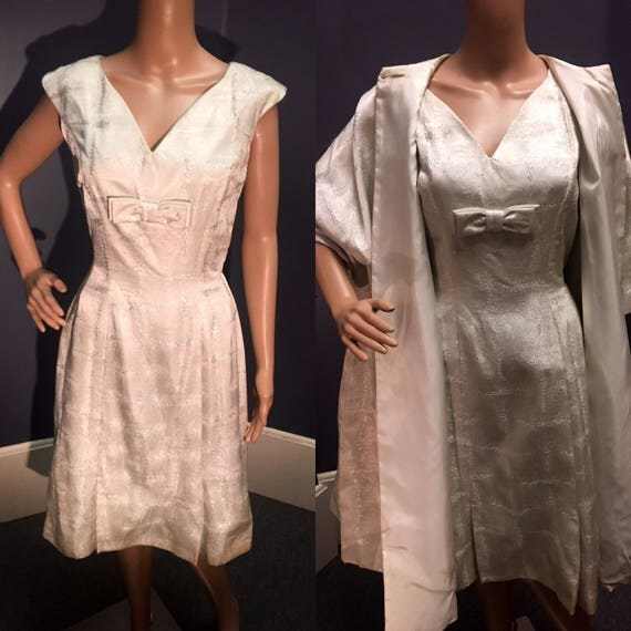 Vintage 1960s White amd Silver Brocade Lame Dress and Coat By Fanya Size Medium