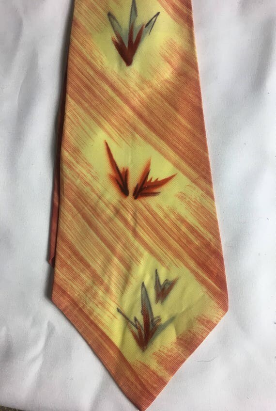 Vintage 1940s Red Yellow Grey Hand Painted Wide Nylon Tie