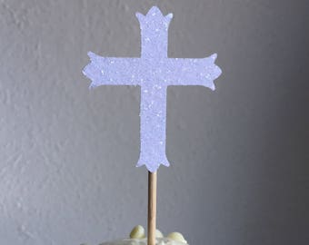 120 White Cross Cupcake Toppers Cake Decorations Wedding First Holy Communion Baptism Confirmation