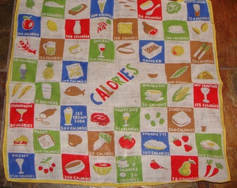 NOVELTY CALORIE COUNTER handkerchief scarf vintage print