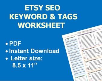 Worksheet, Etsy store SEO, SEO tags, Help with Seo, Seo help, Etsy guide, Etsy shop owner help, Etsy tag help, Etsy keywords help