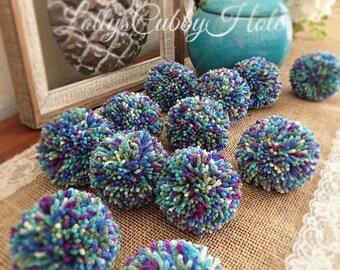 Pom Pom Garland, Multicolor Pom Poms, Mermaid  Blue, Turquoise, Green, Fuchsia, Cream, Home Decor, Nursery, Party, Pom Pom Decoration 6 Ft.