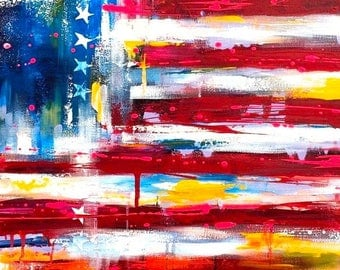 Patriotic Art Print of American Flag ABSTRACT Painting - ABSTRACT EXPRESSIONISM Modern Painting on Wrapped Canvas