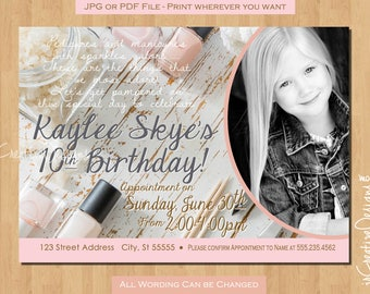 Spa Birthday Party Invitations Spa Party Invitation Girl Birthday Invitation Pedicure Makeup Party Make up Party 11th 12th 10th 9th 8th