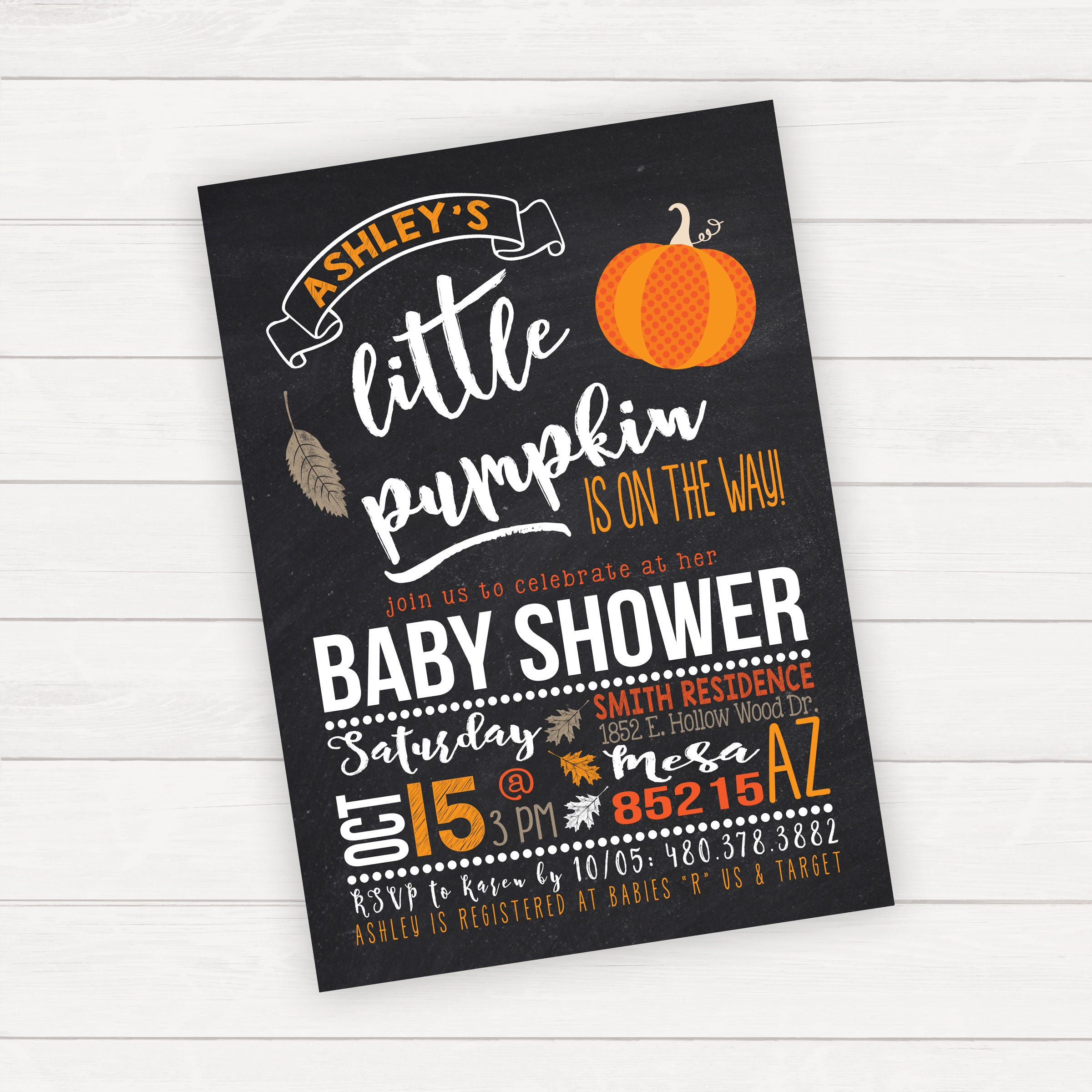Halloween Baby Shower Invitation Pumpkin Baby Shower