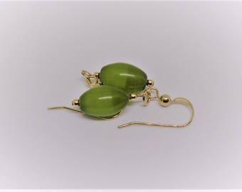 Green Mexican Opal Earrings Olive Green Earrings Summer Earrings Summer Jewelry Dangle Earrings 14k Gold Earrings BuyAny3+Get1 Free
