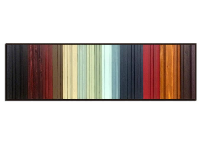 Gradient 2 -  Reclaimed Wood Art in Reds, Black, Yellow, Creams, Blues - Modern Wood Wall Art, Abstract Art, Minimalist