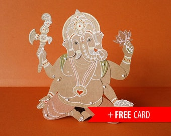 Ganesha the Indian God articulated paper doll handmade greeting card hindu puppet spiritual lucky charm birthday present coworker gift