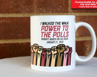 Women's March Anniversary 2018 Customizable Coffee Mug Cup Gift Present Woman Female Trump Souvenir Protest Resist Power to the Polls