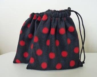 Fleece Stirrup Iron Covers - Spots - Black & Red