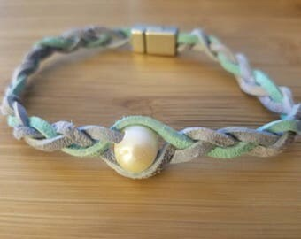 Mermaid Pearl Bracelet (-gift-freshwater-pearl-braided leather-for her-multicolored)