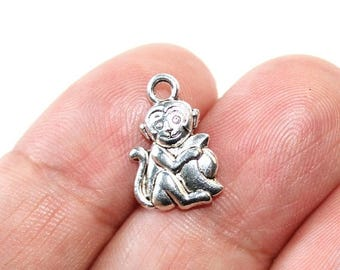 15% OFF - 5 Monkey and Banana Charms Antique Silver Tone 2 sided - CH723
