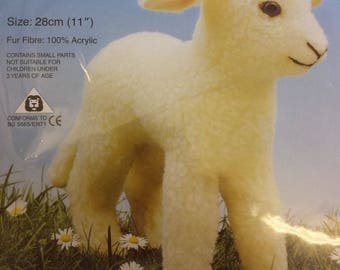 Lamb Soft Toy Kit - Make Your Own Baby Sheep - Cuddly Fur - Gift Children Sew