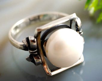Pearl Ring White Pearl Ring Sterling Silver Jewelry