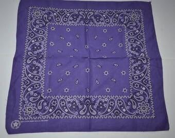 Vintage purple, white, black bandana cowboy cowgirl Bandana biker head scarf paisleys flowers cotton bandana crafted with pride in America