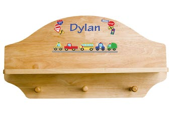 Personalized Cars and Trucks Wooden Three Peg Shelf Motor Transportation Automobile Red Blue Yellow shel-nat-223
