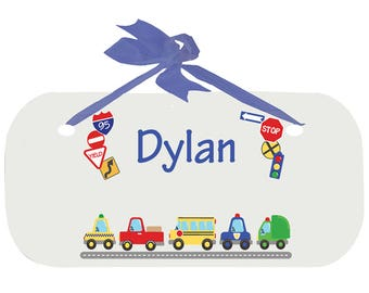 Personalized Cars and Trucks Nursery Door Hanger Plaque with blue ribbon Motor Transportation Automobile Red Blue Yellow wplaq-blue-223