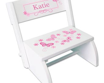 Personalized White Flip and Folding Step Stool with Pink Butterflies Design-stoo-whi-300a