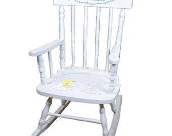 Personalized White Childrens Rocking Chair with Moon and Stars Design-spin-whi-243