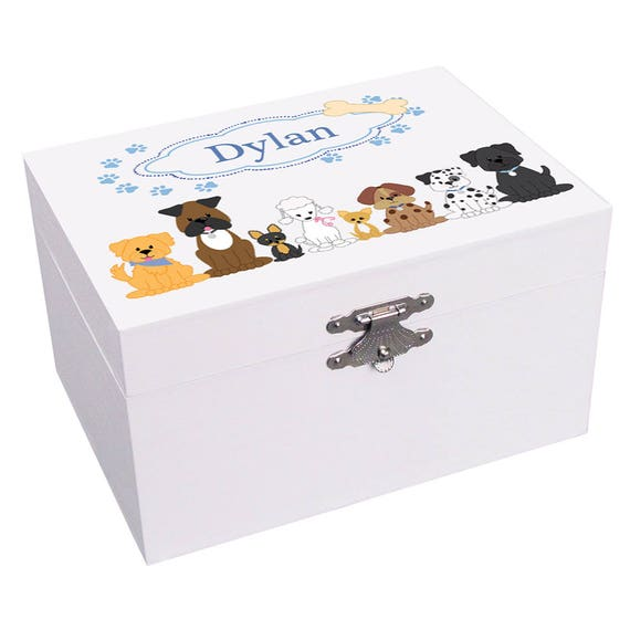 Personalized Blue Dogs Ballerina Musical Jewelry Box Pups