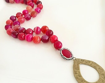 Long Beaded Necklace, Cranberry Agate Stones, Red Tassel Necklace, Pink Tassel Necklace