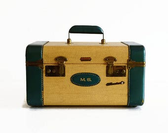 vintage tweed train makeup case with key 1940s 1950s suitcase luggage
