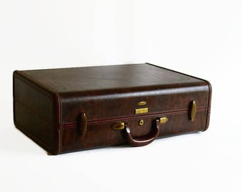 vintage Samsonite suitcase with key marble brown 1940s travel luggage