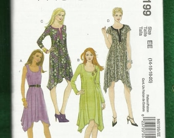 15% OFF SALE McCalls 6199 High Low Hemline Dresses with Scooped Necklines Sizes 14 to 20 UNCUT