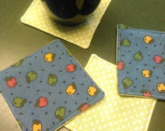 Set of 4 Apple and Green Checkered Fabric Coasters