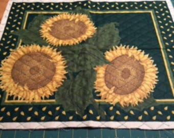 Sunflowers Quilted Cushion Pillow Panel