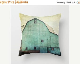 Christmas in July Decorative Throw Pillow Cover Aqua Barn Vintage Turquoise Teal Mint Country Rustic Farmhouse Decor Photo Case Home Bedroom