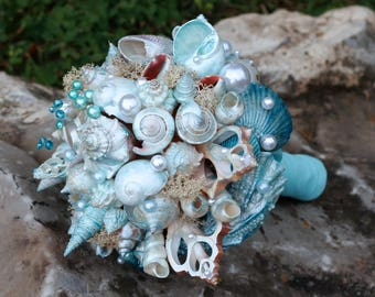 Seashells Bouquet. Blue Beach Wedding Bouquet. Beach wedding accessories
