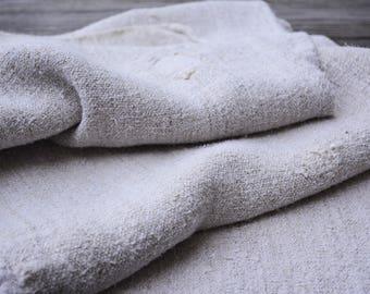 Plain Vintage Linen Grain Sack, European Grainsacks, French Country Decor, Antique Textile, Grain Sack Decor