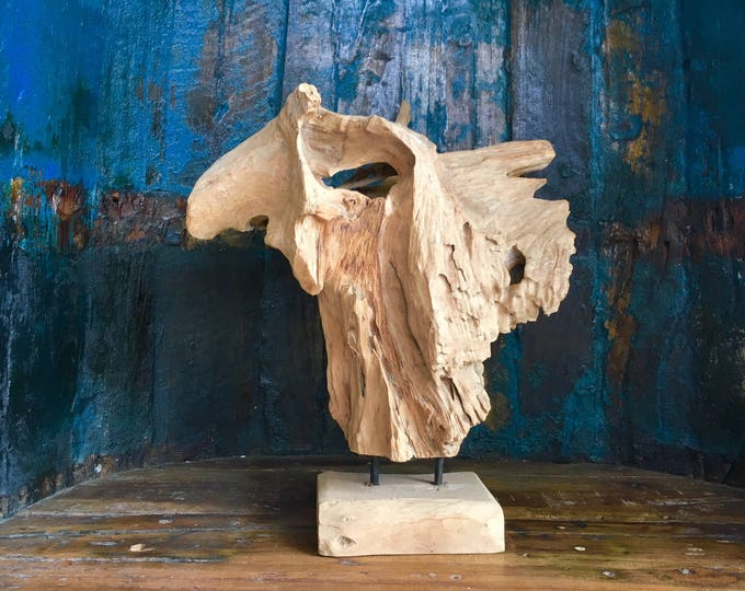 Beach Décor Drift Wood Teak Piece on a stand #6,  by SEASTYLE