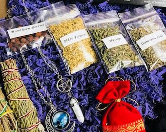 MEGA BOX Wiccan/Pagan/Goddess Mystery Box of Goodies! Treat yo self to a magical surprise!