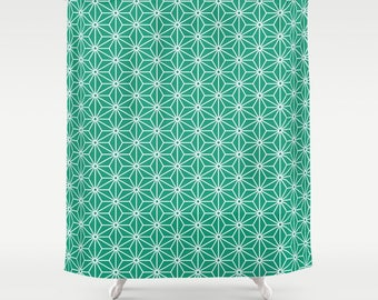 36 colours,  Emerald Green, 6 point star, Polygon Shower Curtain, Nordic decor, geometric shower curtains, star pattern bathroom decor