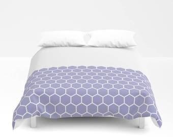 36 colours, Hexagon Honeycomb Half Pattern Duvet Cover, Minimalist pattern duvet cover, double duvet, king duvet cover, queen duvet cover