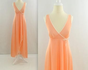 SALE Peach Sorbet Nightgown - Vintage 1970s Hi Low Wrap Nightie in Apricot - Small by Kayser