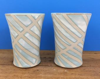 Diagonally Striped Ice Tea Tumblers - Pair of 2