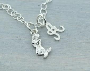 Mermaid Charm Bracelet, Mermaid Bracelet, Silver Mermaid, Sterling Mermaid, Initial Charm Bracelet, Mermaid Jewelry, Gift For Her