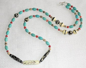 TURQUOISE Red CORAL Coconut Shell & BONE Beaded Necklace Southwest Style Long Necklace Turquoise Magnesite with Carved Bone Red Bamboo Coral