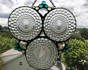 Stained Glass Panel|Vintage Bubble Plates|Vintage Plates in Triplicate|Beveled Glass|Glass Gems|Glass Art|Handcrafted|Made in USA