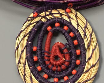Bib Necklace African Inspired Woven From Longleaf Pine Needles