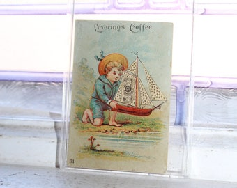 Antique Trade Card Levering's Coffee Victorian Boy with Sailboat