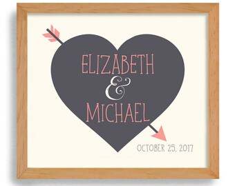 Heart and Arrow Wedding Gift Rustic Wedding Sign Romantic Honeymoon Gift Personalized Wedding Gift Couples Anniversary Gift Cupids Arrow