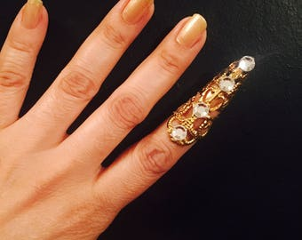 Crystal arrow tip,claw ring,nail guard or Thumb claw Ring,gold color, Swarovski Crystals, 1 pc; adjustable.