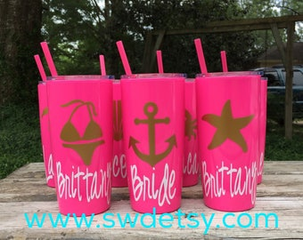 Bachelorette Cups / Personalized Beach Bachelorette Tumblers / Girls Weekend / Yeti like tumblers w/ Lid & Straw / Personalized Party Cups