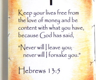 Hebrews 13:5 Bible Verse Fridge Magnet (2 x 3 inches)
