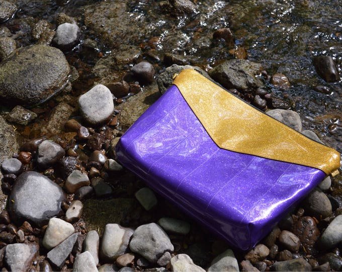 Clutch/crossbody purse made of purple and gold sparkle vinyl // vegan purse