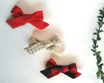 Set of three headbands nylon christmas red plaid black cream polka dots clip Valentine